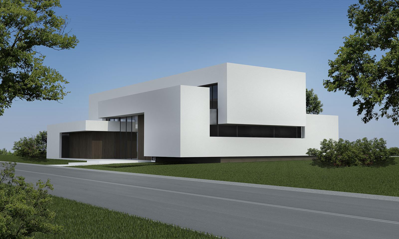 fachadas minimalistas, volúmenes de hormigón, arquitectura moderna