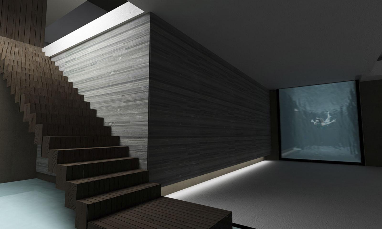 piletas interiores, pantallas de agua en casas, sótanos modernos
