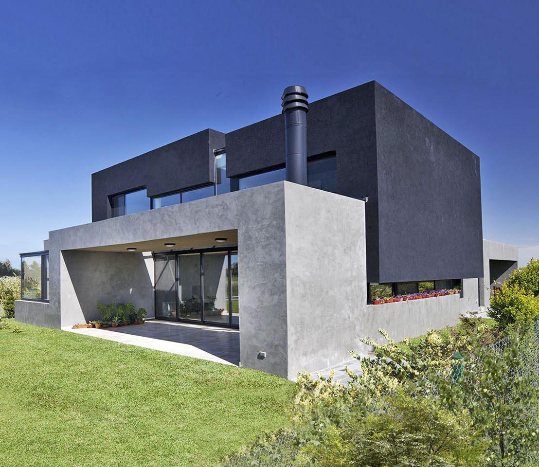 casas minimalistas, volúmenes arquitectónicos, fachadas grises