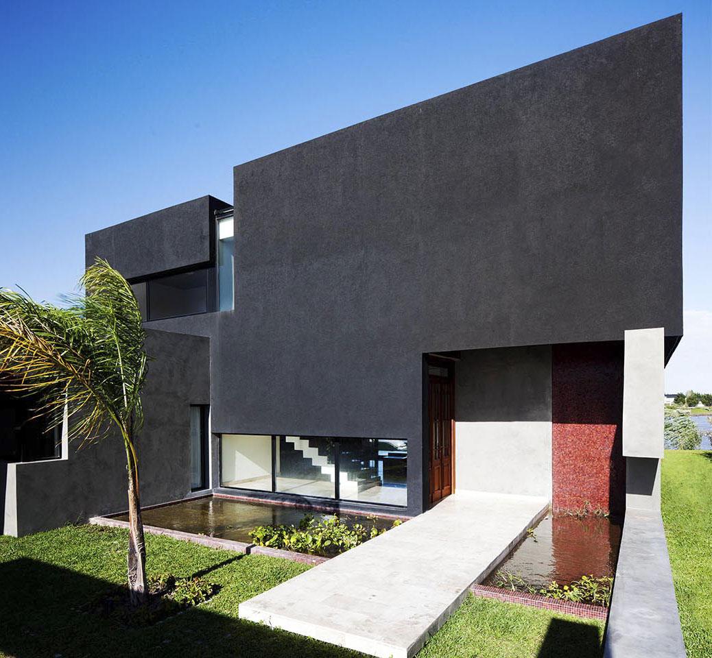 estanque en casas, entradas interesantes de viviendas, fachada con venecitas