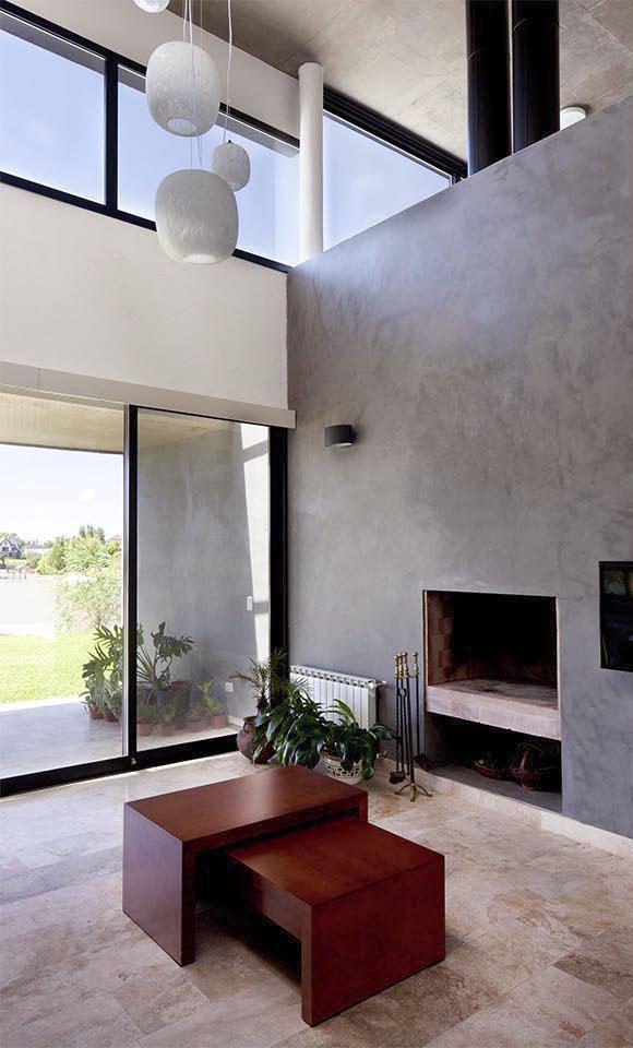 cemento alisado en fachadas, grandes chimeneas, chimeneas contemporáneas
