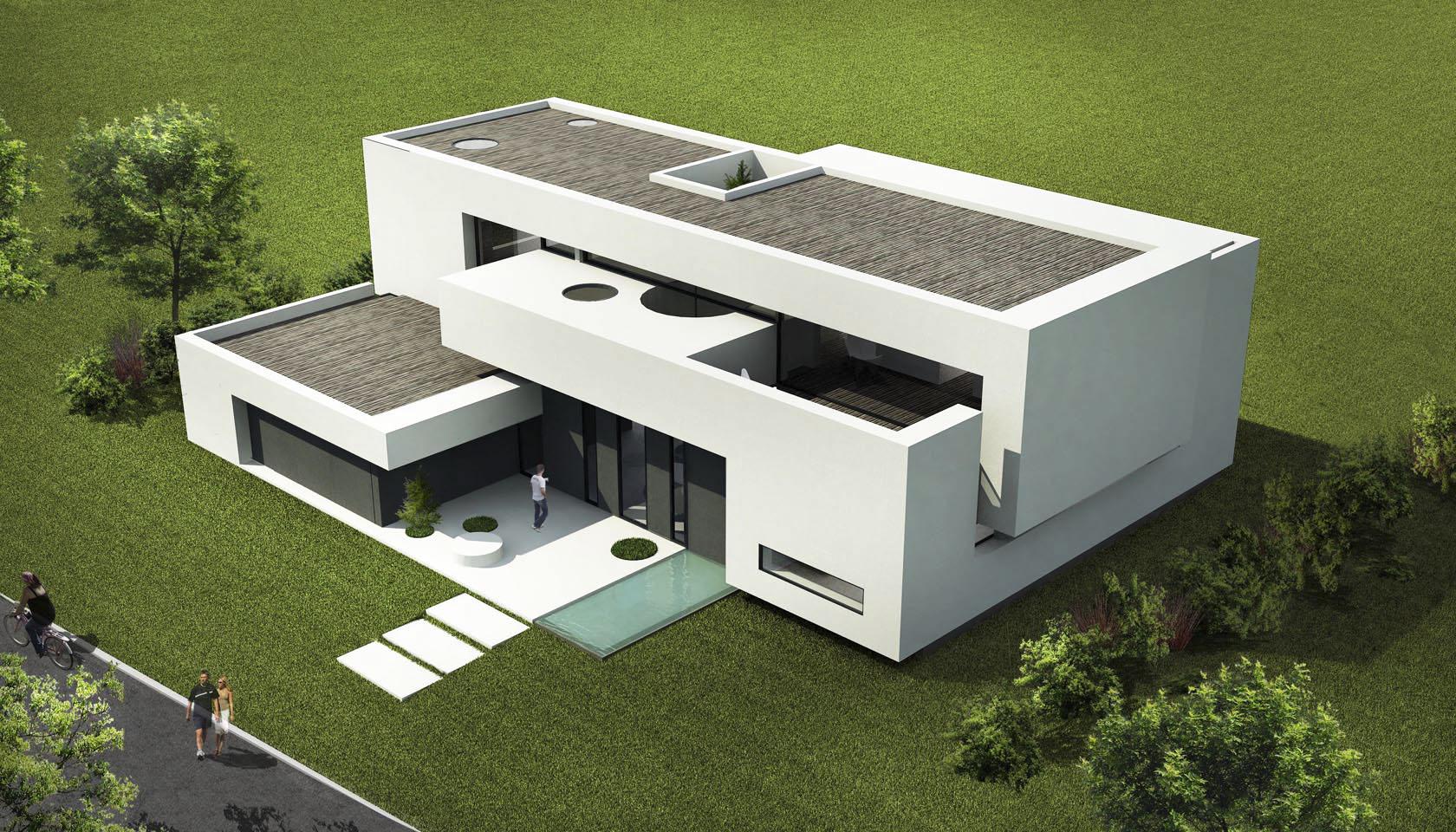 casas modernas, casas blancas, composición de volúmenes arquitectónicos