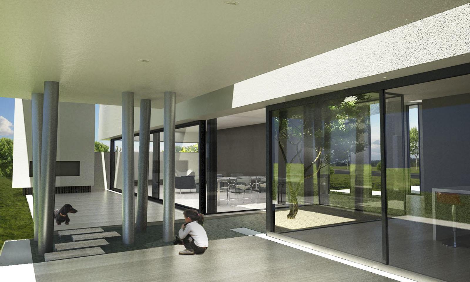 columnas en acero, galerías modernas, fachadas vidriadas, jardines interiores