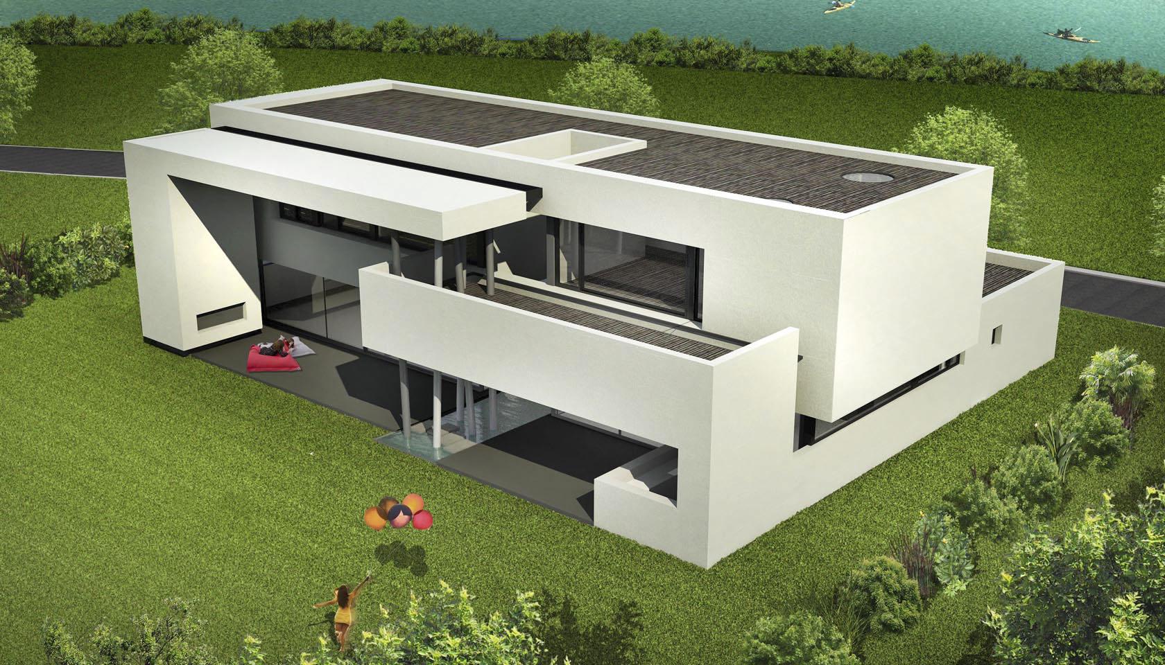 casas modernas, casas blancas, casas con desniveles