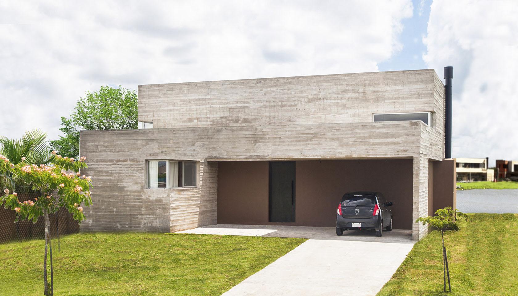 casas minimalistas, fachadas en tarquini y hormigón