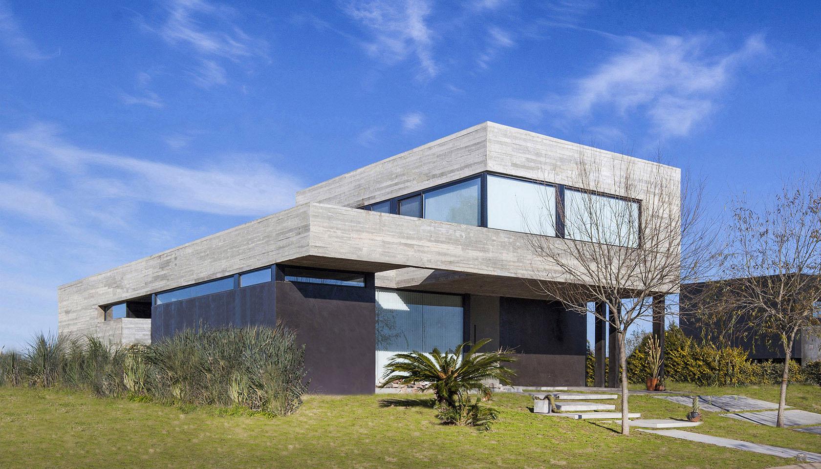 Fachadas de hormigón y tarquini, casas contemporáneas, casas con fachadas modernas