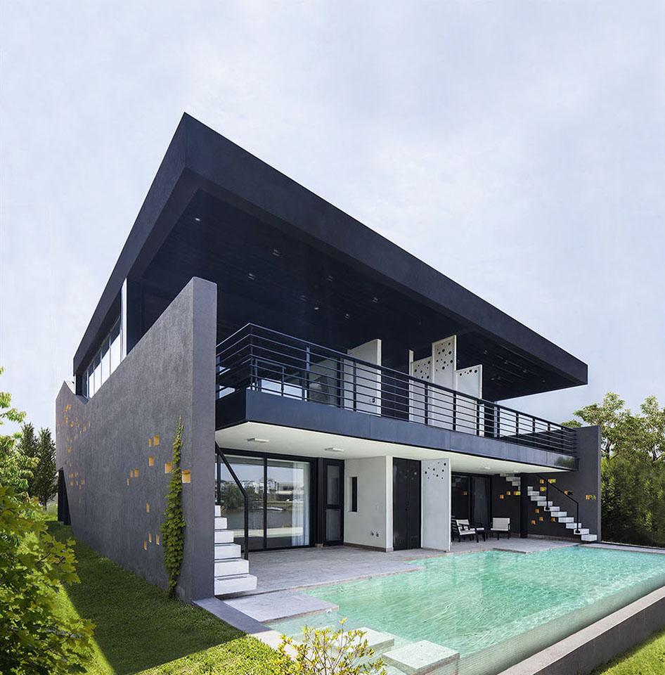 casas modernas, fachadas metálicas, fachadas con chapa