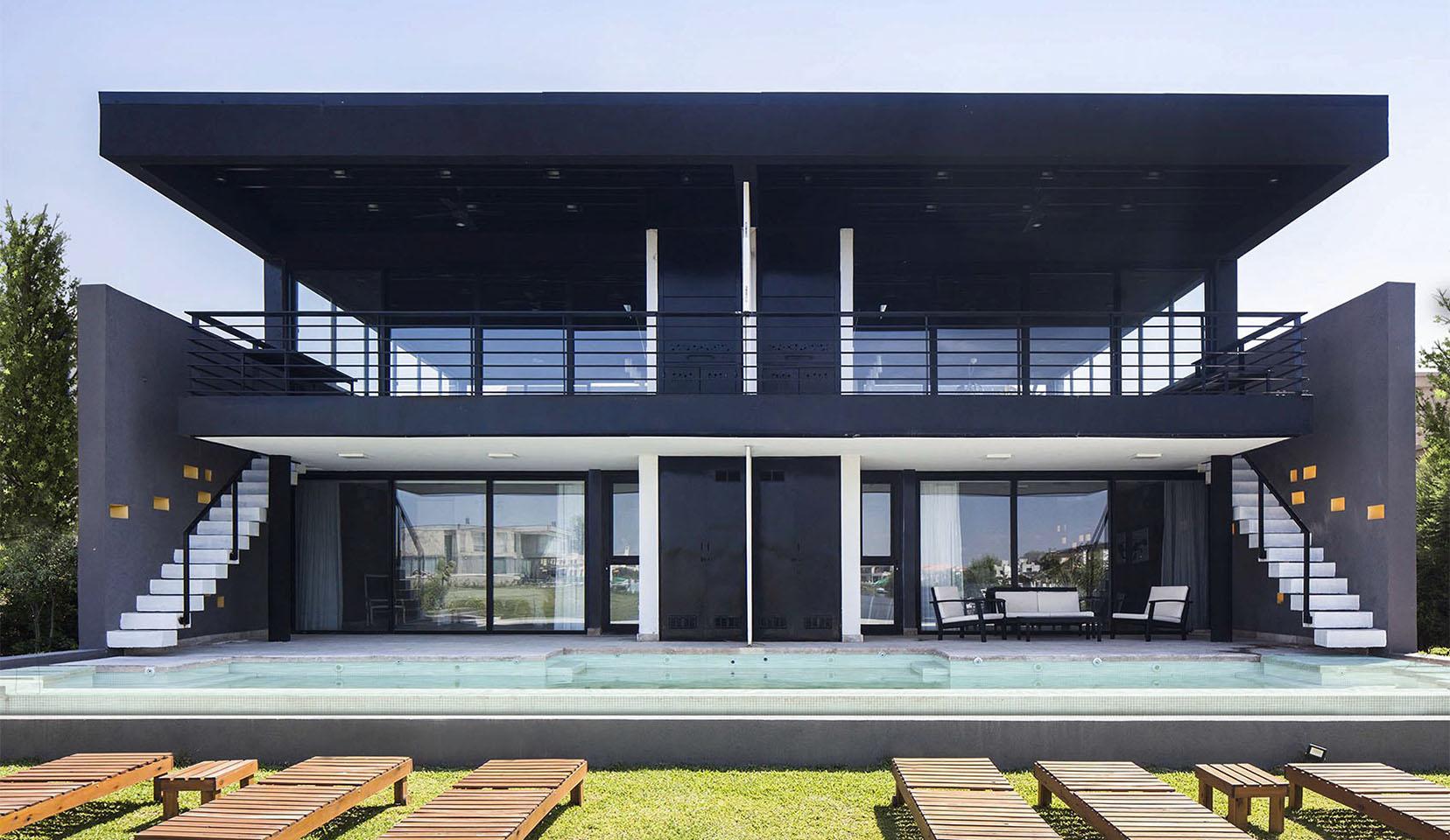2 casas en 1, unificación de fachadas, piletas en casas modernas