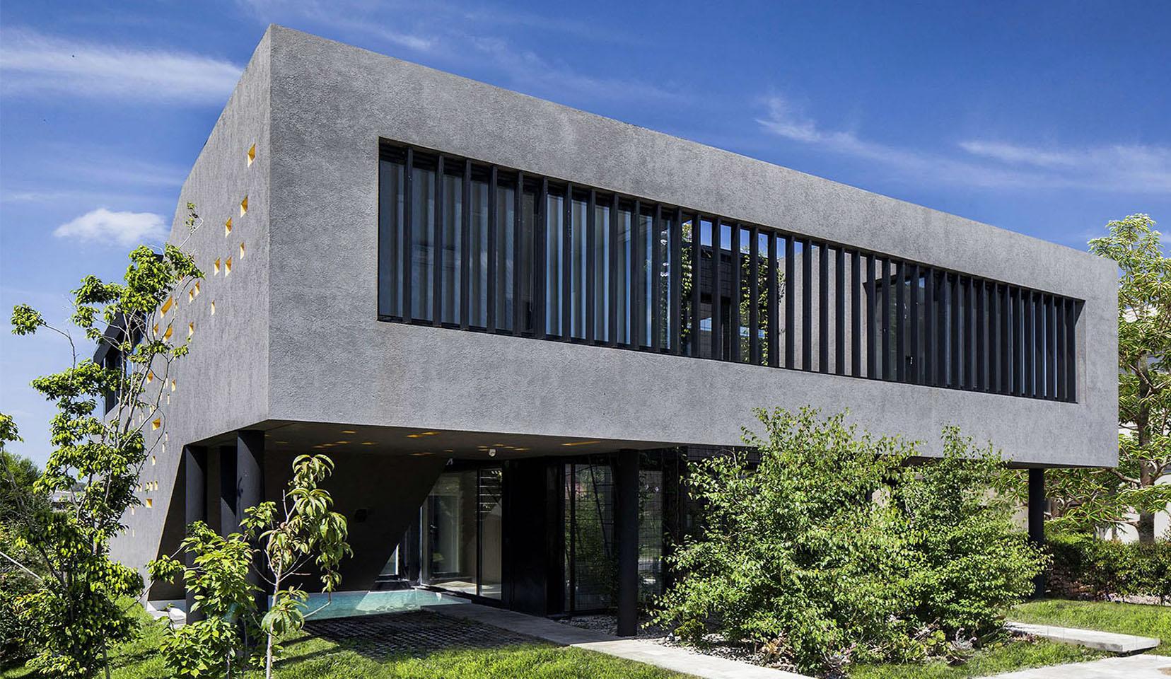 casas con living en voladizo, fachadas de tarquini, fachadas modernas, fachadas sintéticas