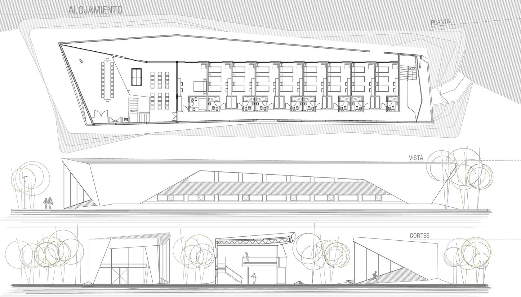 Diseño moderno de complejos deportivos, diseño de alojamientos
