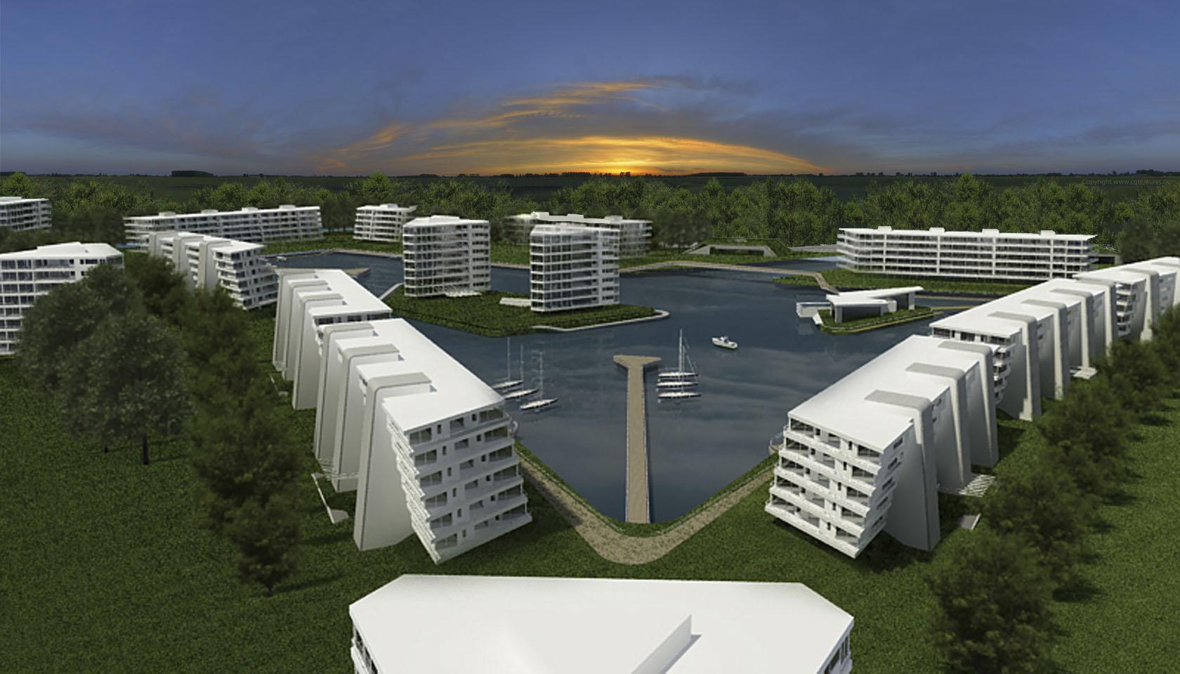 Complejo de vivienda en Nordelta, edificios con visuales al lago