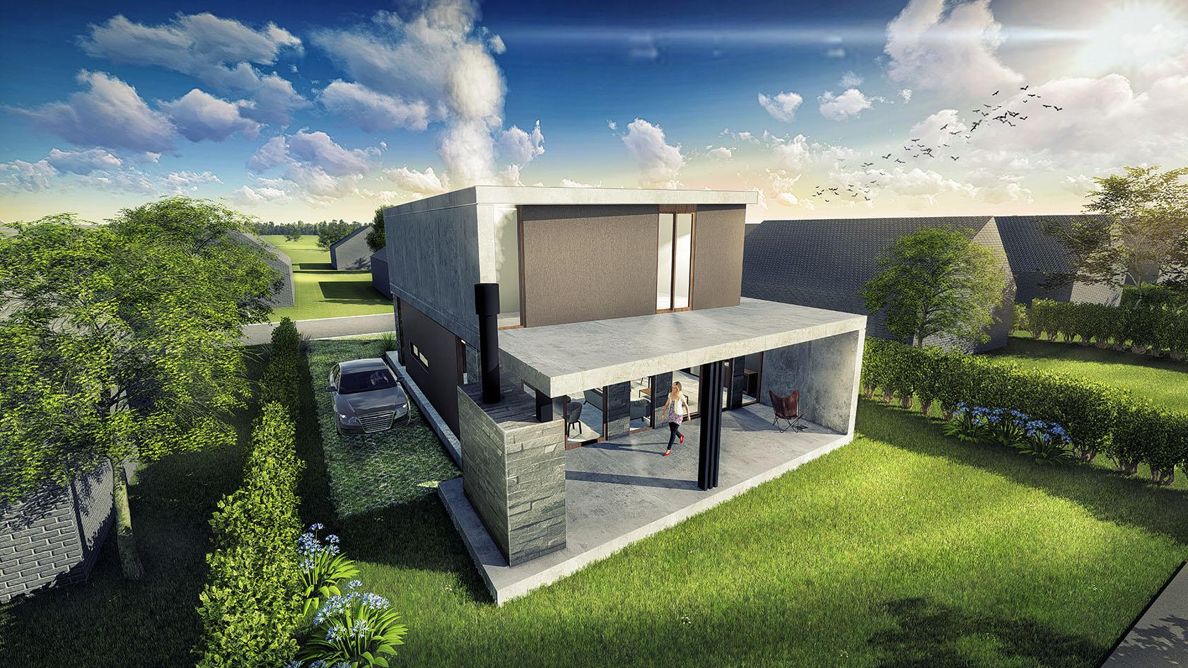Vista aérea contrafrente, galerías modernas, parrilla con revestimiento de piedra, casas contemporáneas