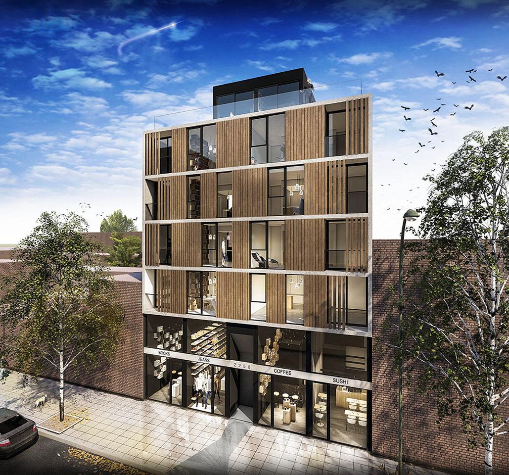 Edificios de vivienda con planta baja comercial, mixtura de usos en edificios, fachadas negras en edificios, fachadas con hormigón madera y vidrio en buenos aires