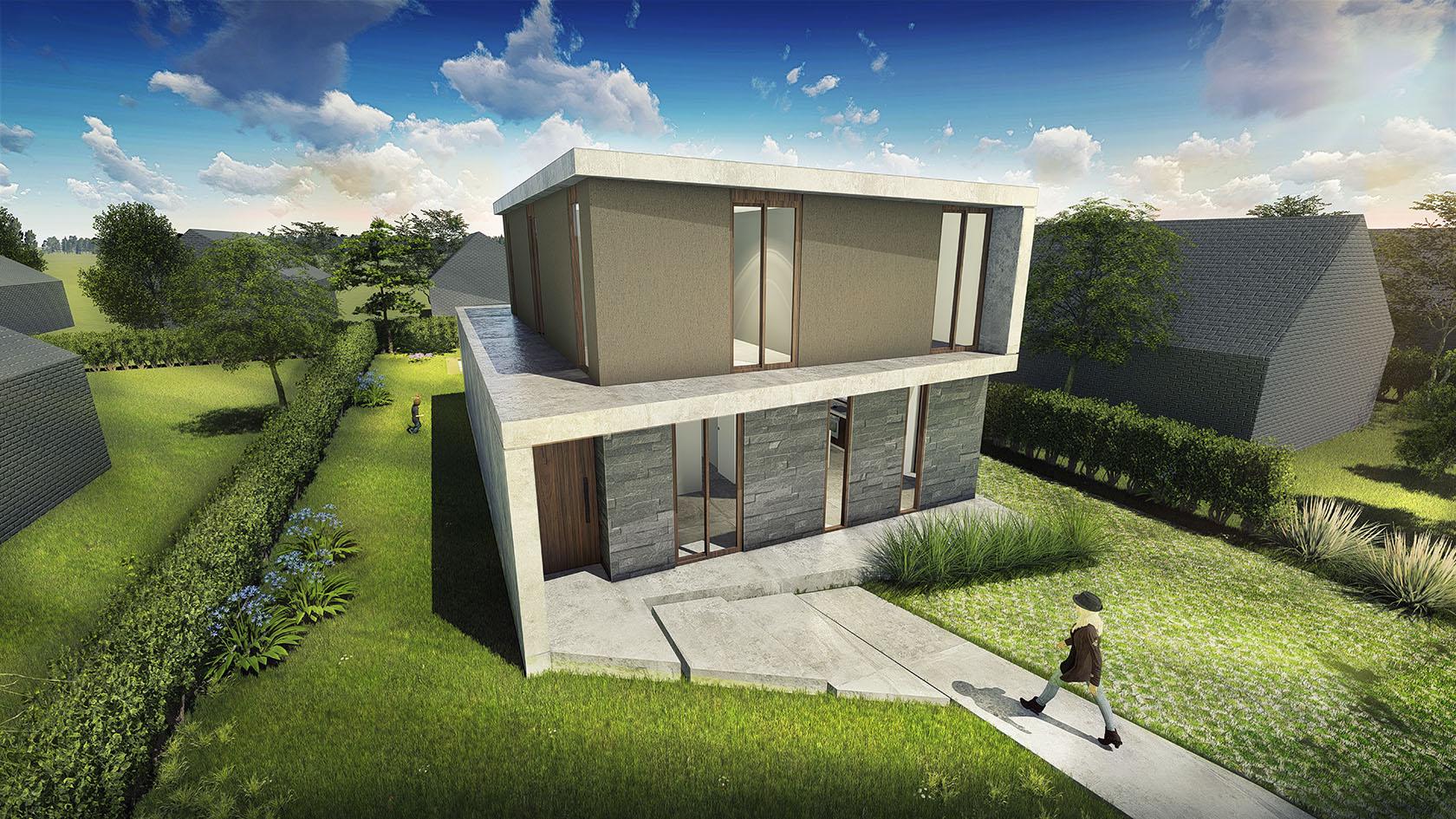 Vista aérea fachada de frente, hormigón y piedra, casas modernas en buenos aires