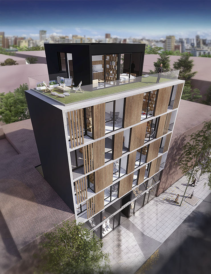 Fachadas modulares en edificios, diseño de fachadas modernas en edificios, terrazas jardín en edificios de vivienda, edificios con fachadas escandinavas en buenos aires