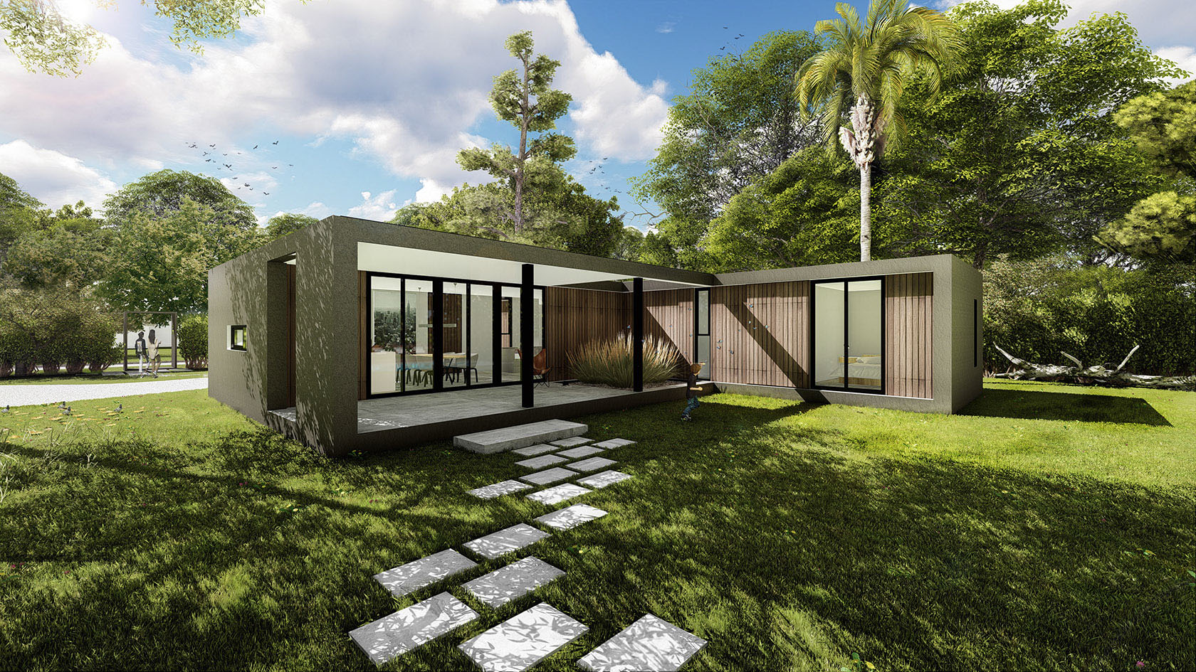 Galerías modernas, casas con revestimiento en madera , arquitectura y paisaje