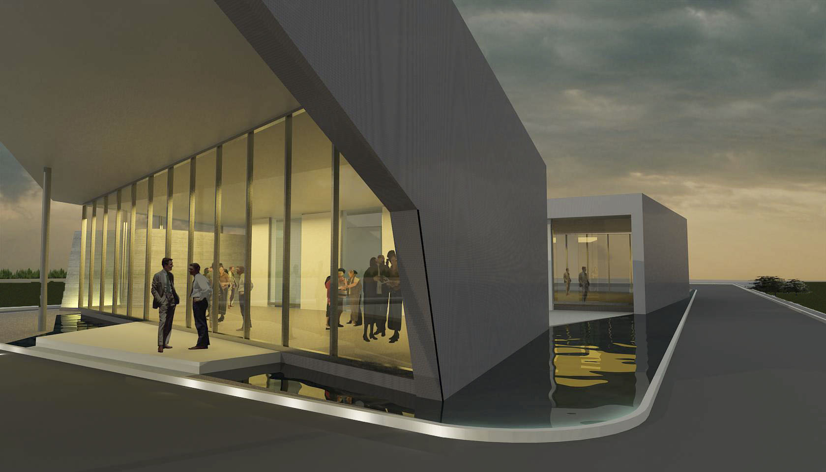 Galerías modernas, edificios sobre agua, diseño de estanques en edificios modernos, frentes vidriados