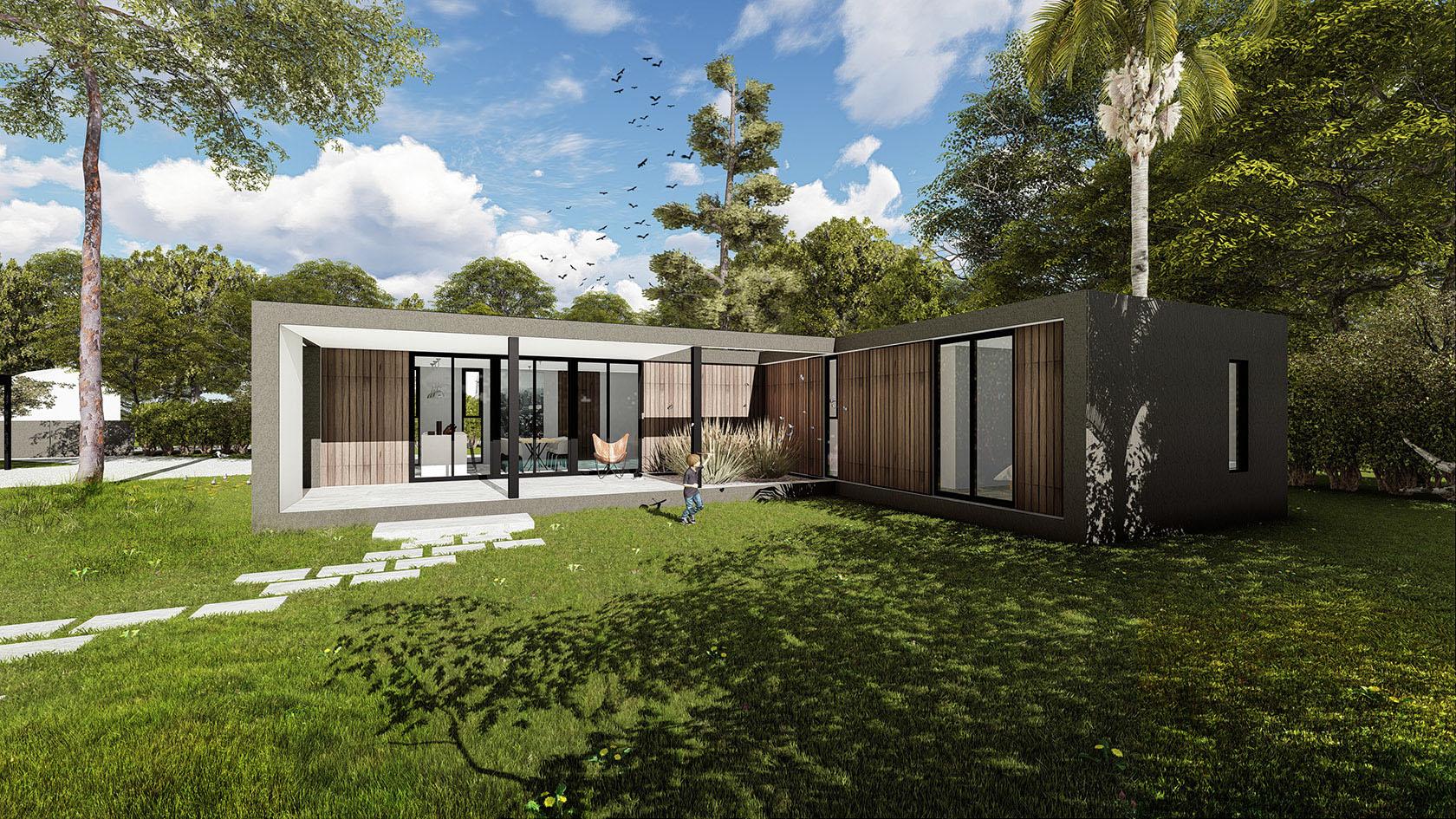 Casa con columnas negras, casas modernas en steel frame, fachadas vidriadas y madera contemporáneas