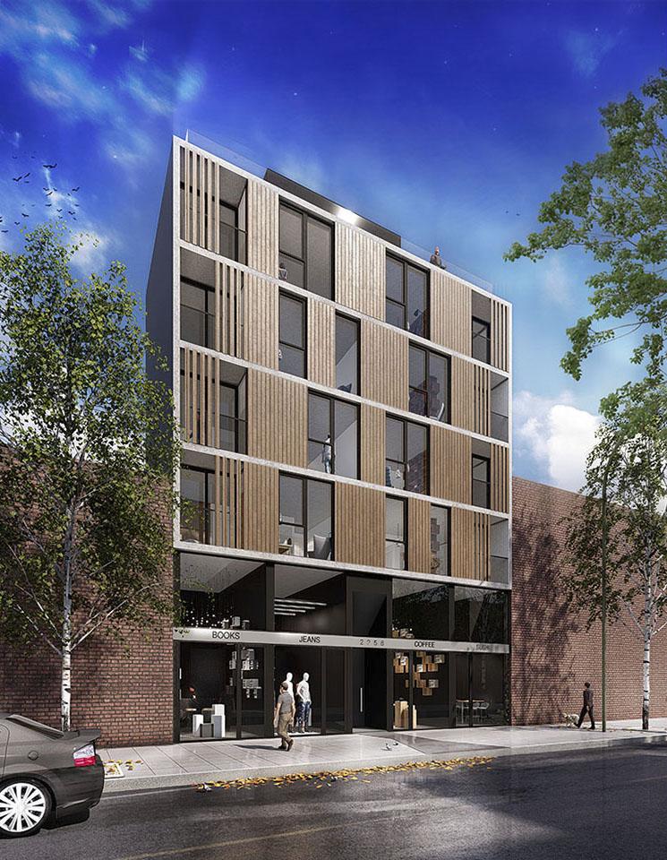 Edificios de vivienda contemporáneos, fachadas con madera en edificios, arquitectura contemporáneas en buenos aires