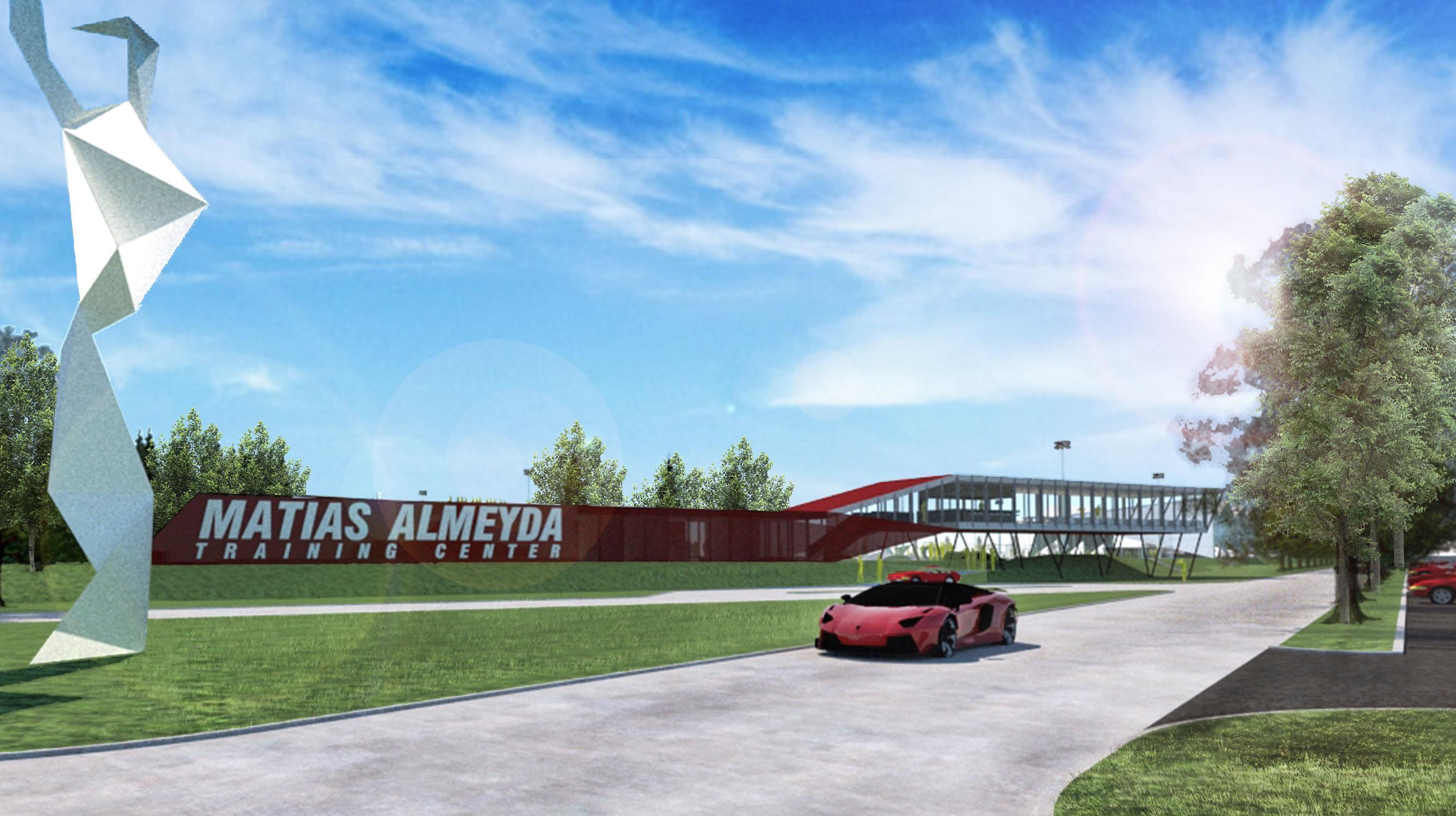 Fachadas modernas en complejos deportivos, columnas modernas en diseño de fachadas