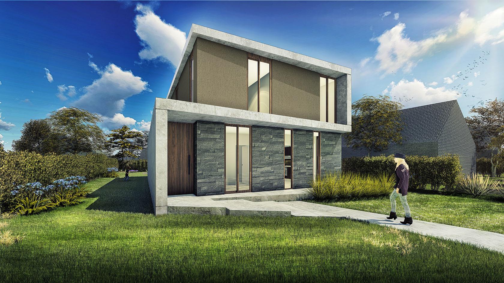 Vista de frente de casa moderna, diseño de fachadas modernas en casas, fachada con hormigón y piedra