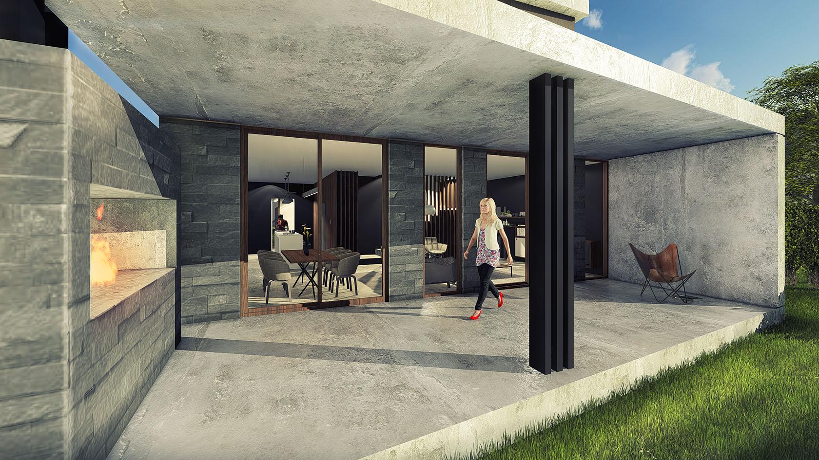 Vista galería, casas con columnas negras, fachadas modernas con materiales rústicos