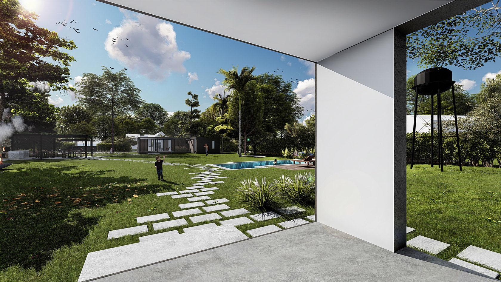 Casas con visuales a jardín, diseño de paisaje en casas, estrategias de diseño en casas con grandes terrenos