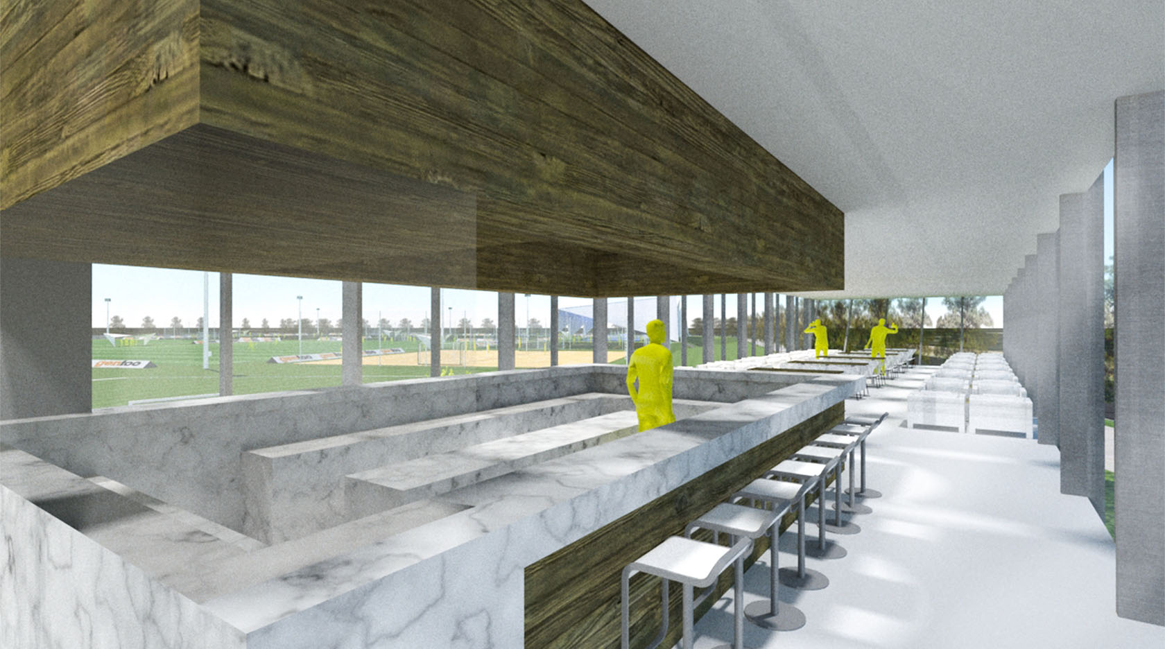 Diseño interiores de bares, fachadas con madera y mármol en bares, integración de paisaje en edificios
