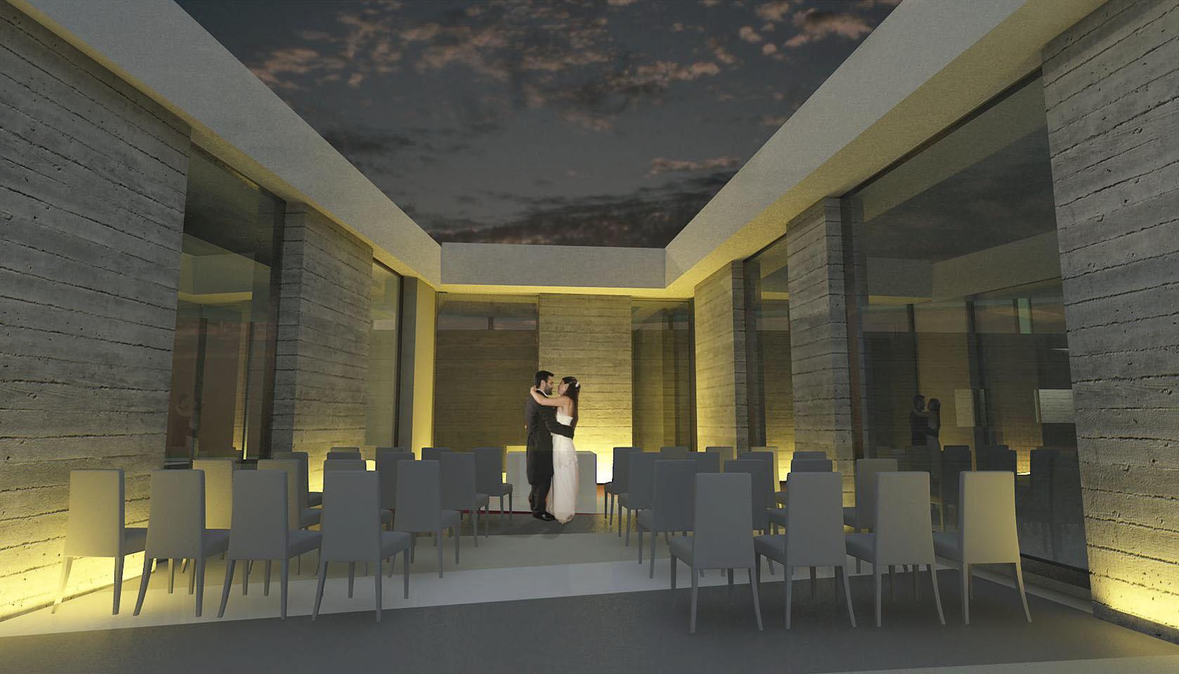 arquitectura ceremonial, diseño de espacios modernos para celebrar fiestas, diseño de lugares semi cubiertos
