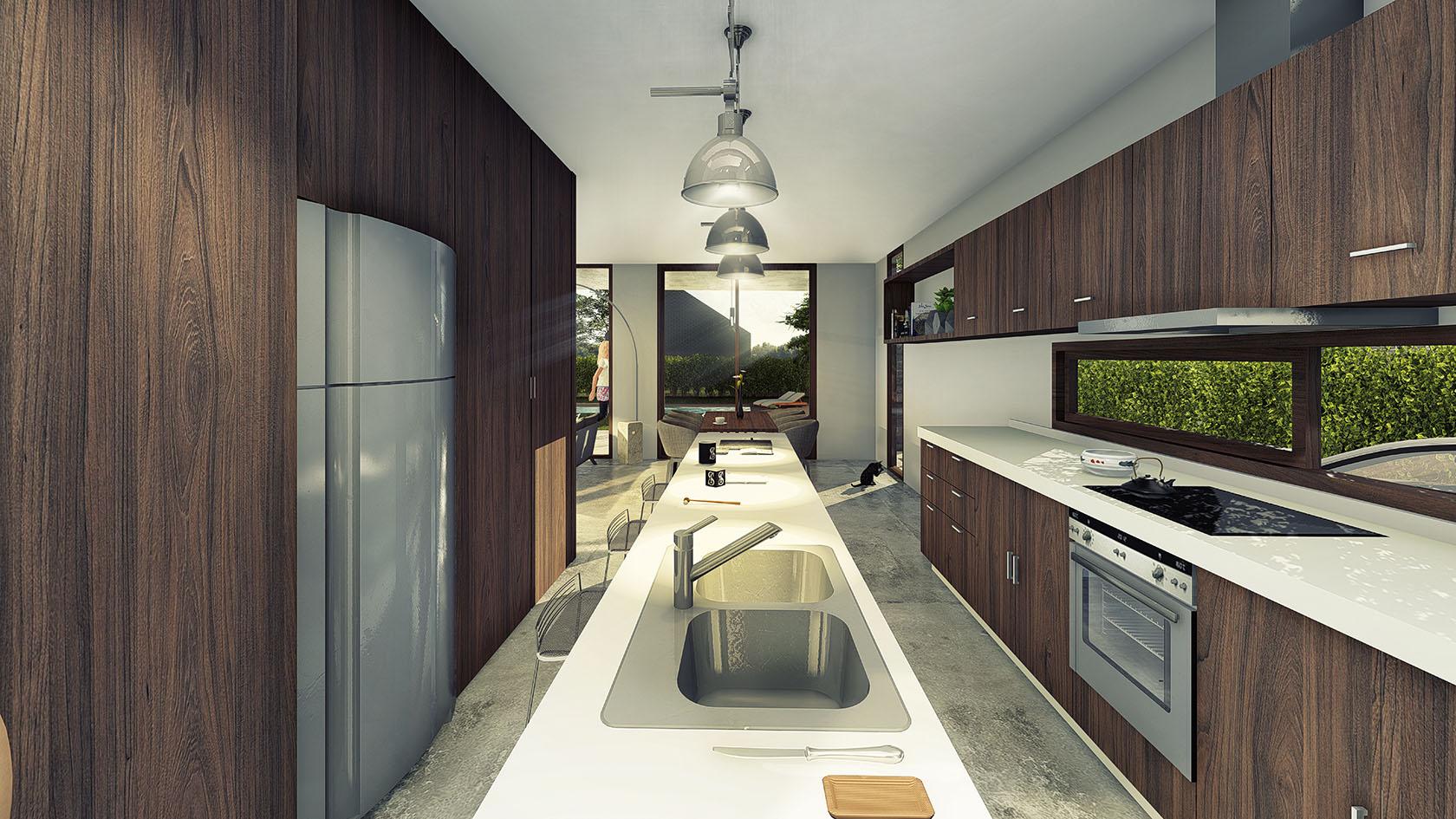 Vista interior cocina, diseño de cocinas modernas, cocinas con revestimiento de madera, cocinas con islas