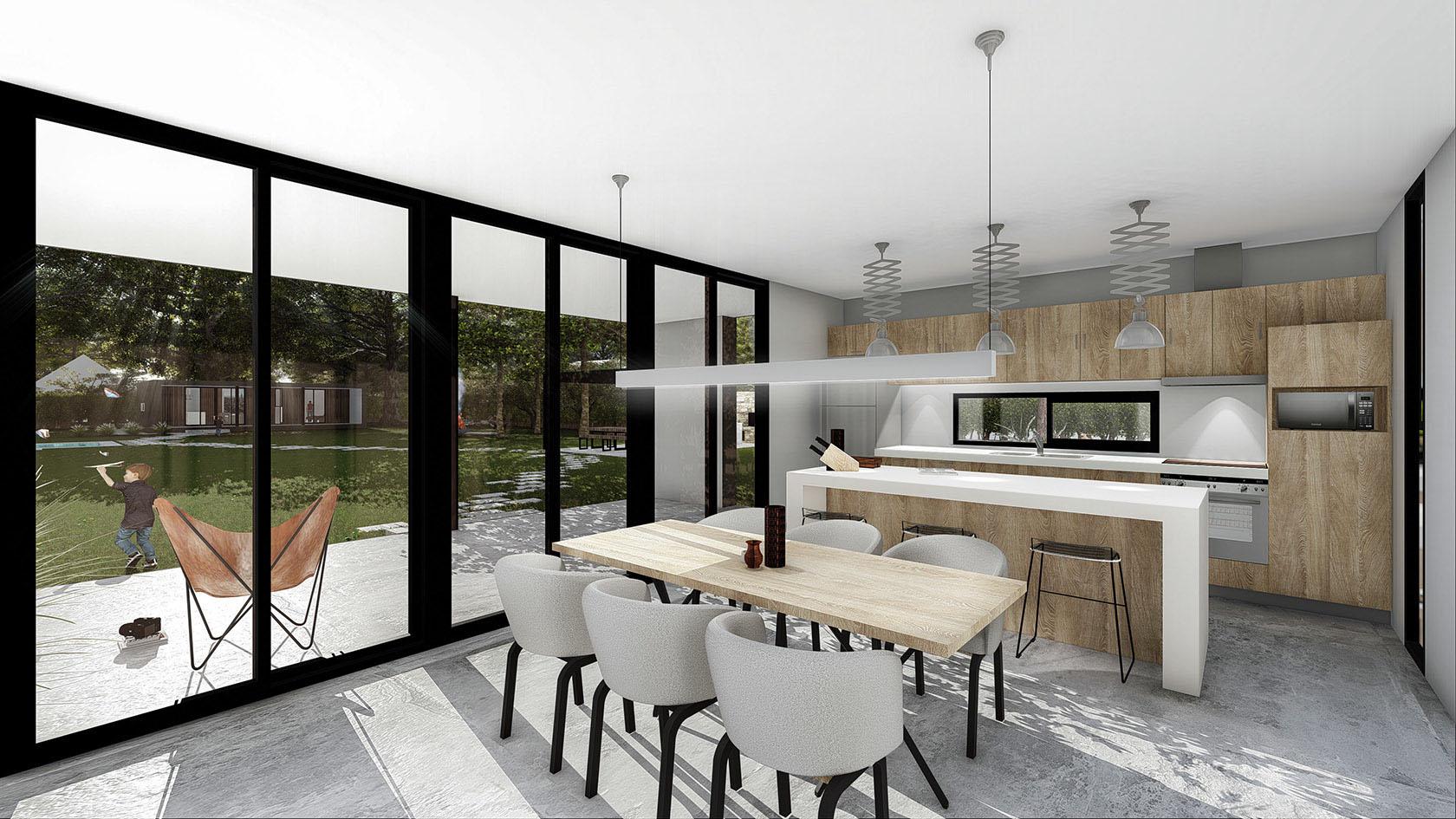 Casas con grandes visuales al exterior, diseño interior de cocinas en madera, casas con ambientes luminosos.