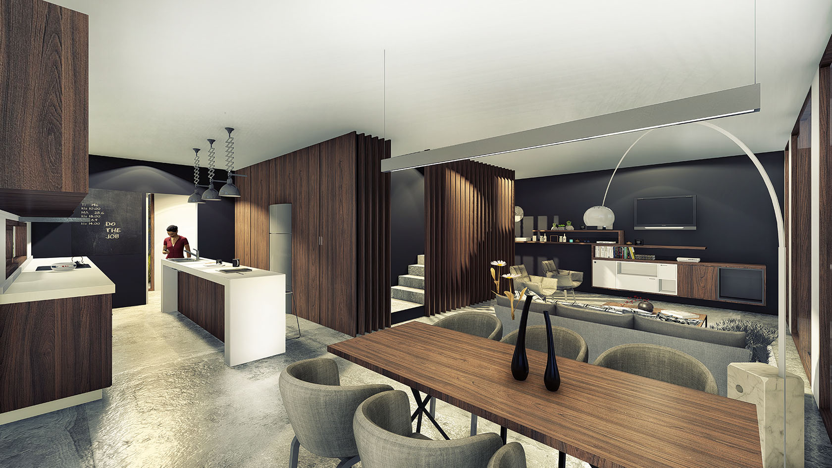 Vista interior comedor, diseño interior de casas, interiores modernos con madera