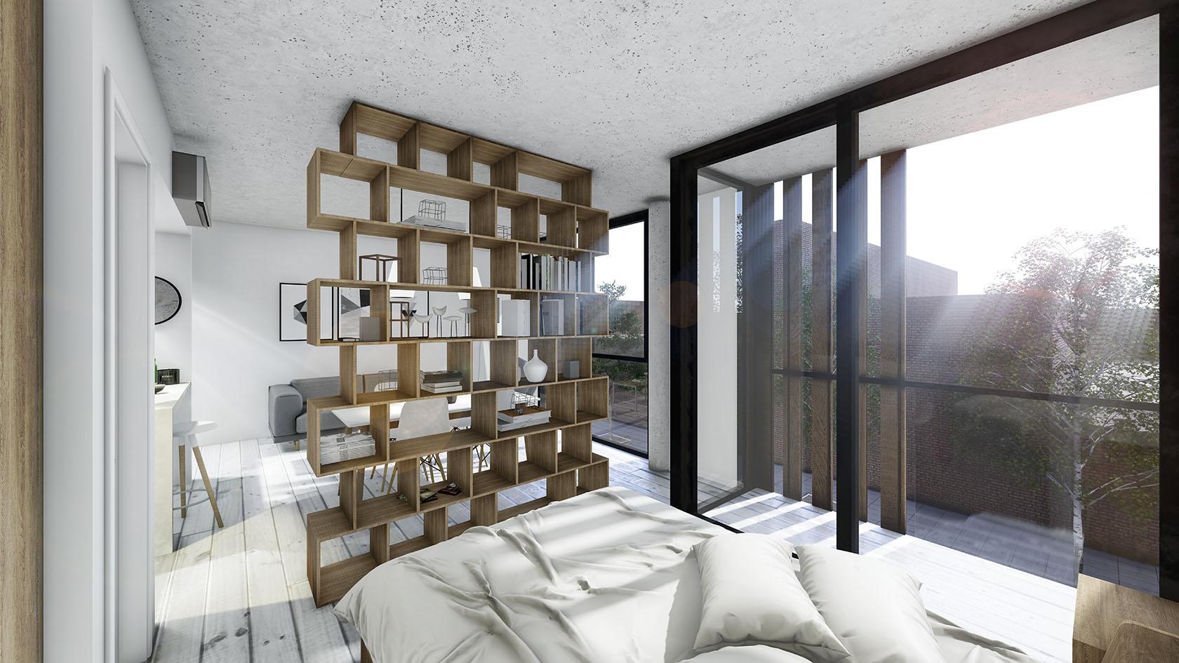 Diseño de ambientes luminosos, muebles divisorios en mono ambientes, estrategias de diseño para optimizar espacios.