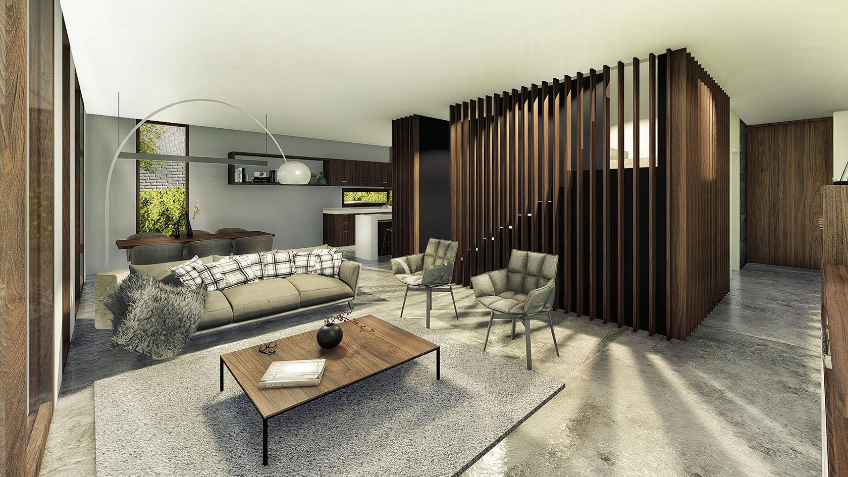 Vista interior living, casas con visuales al jardín, arquitectura y paisaje, interiores modernos
