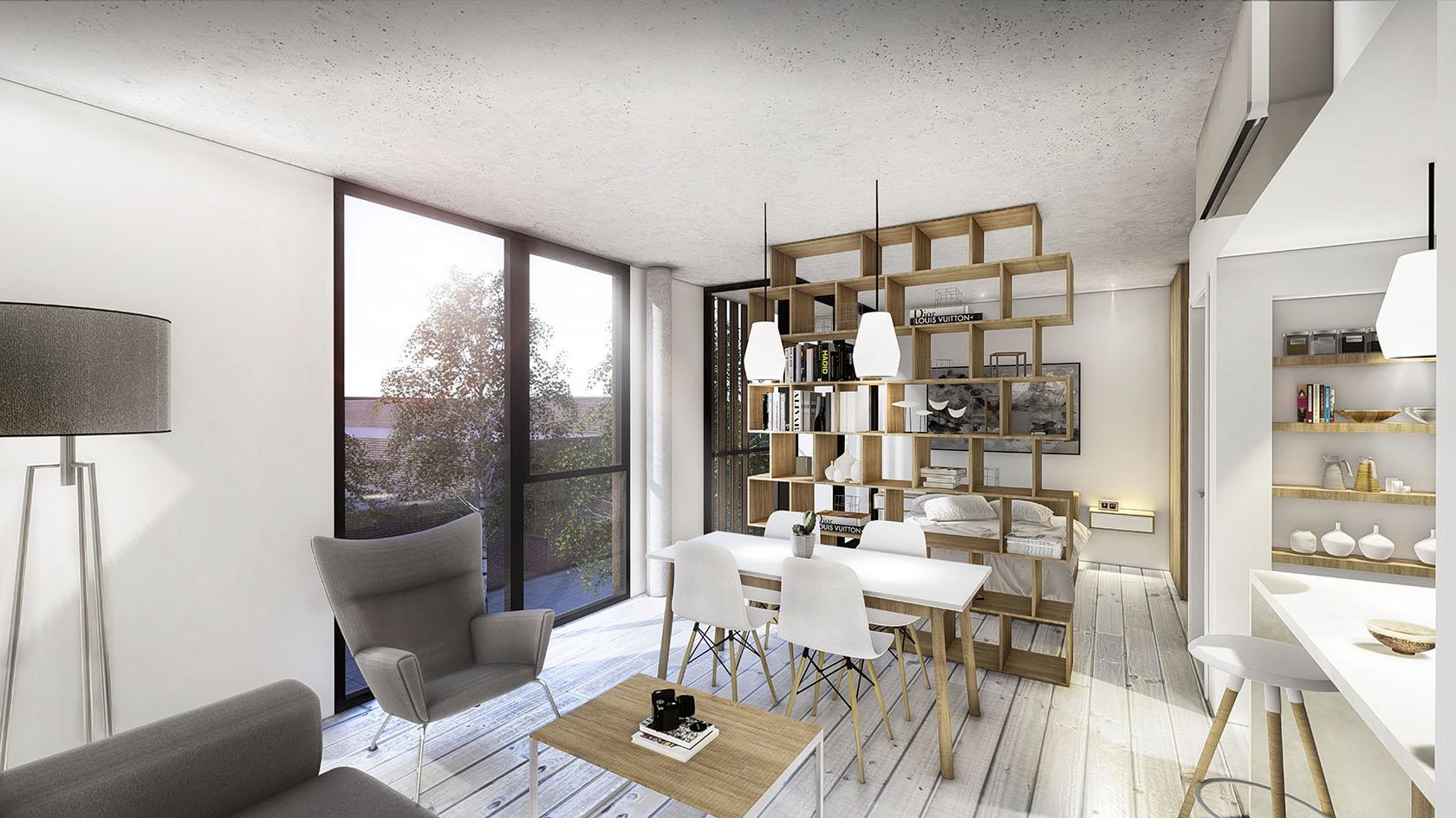 Diseño interior en departamentos, diseño de interiores en mono ambientes, optimización de espacios interiores, ambientes luminosos en departamentos