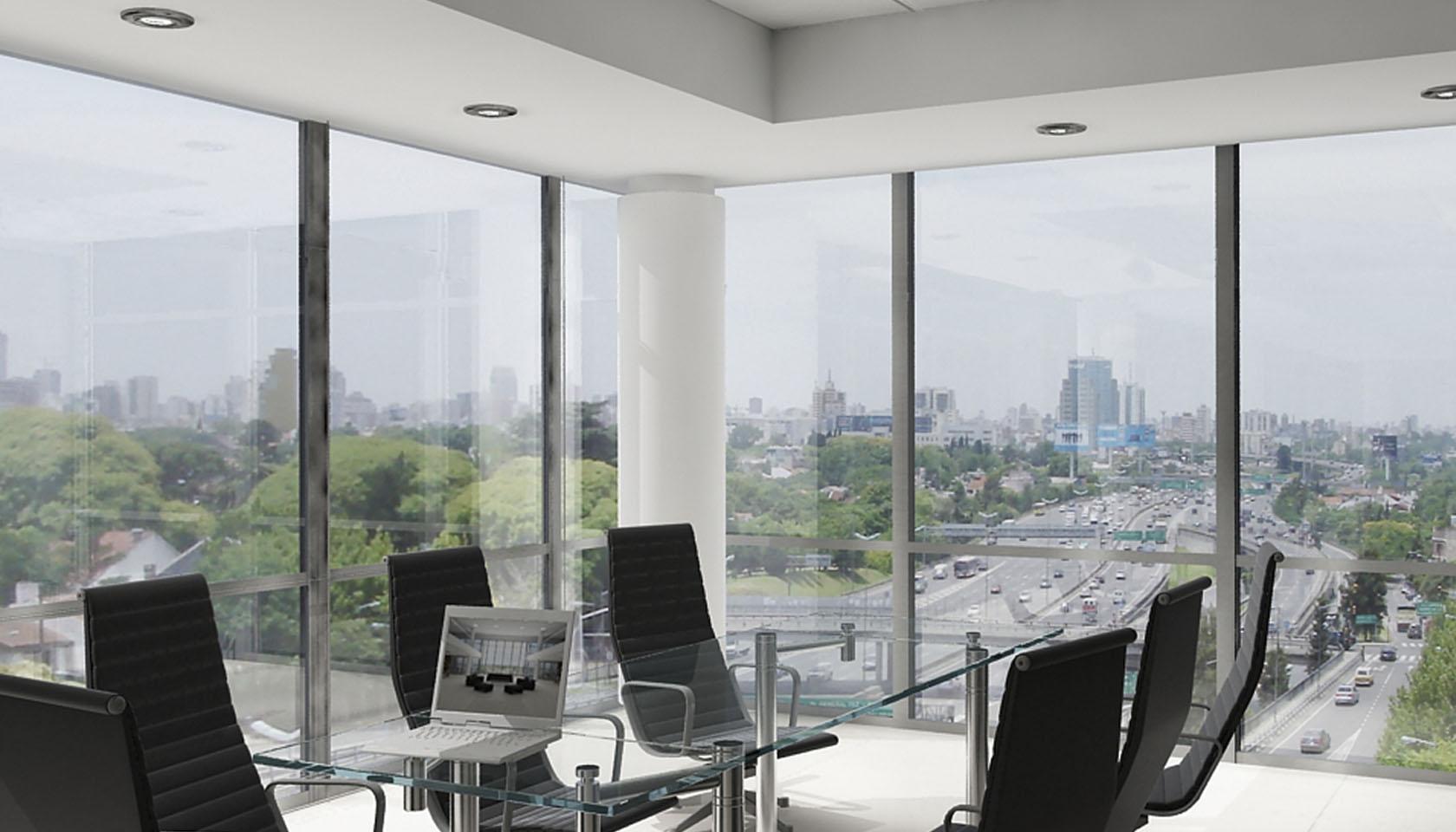 Fachadas vidriadas en edificios de oficina modernos