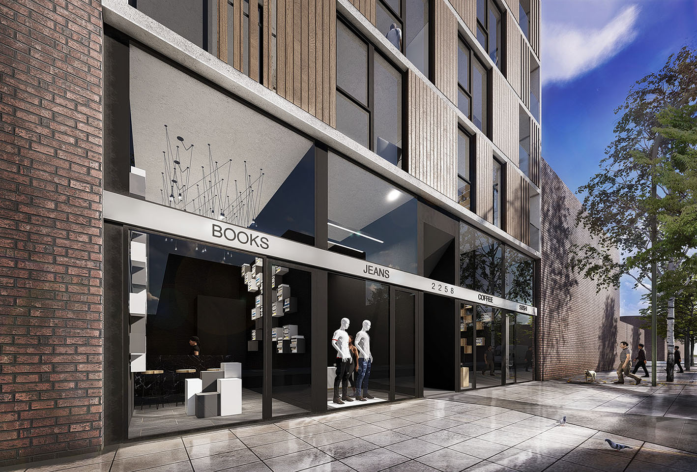 Diseño de locales modernos, locales con fachadas negras, planta baja comercial en edificios de vivienda