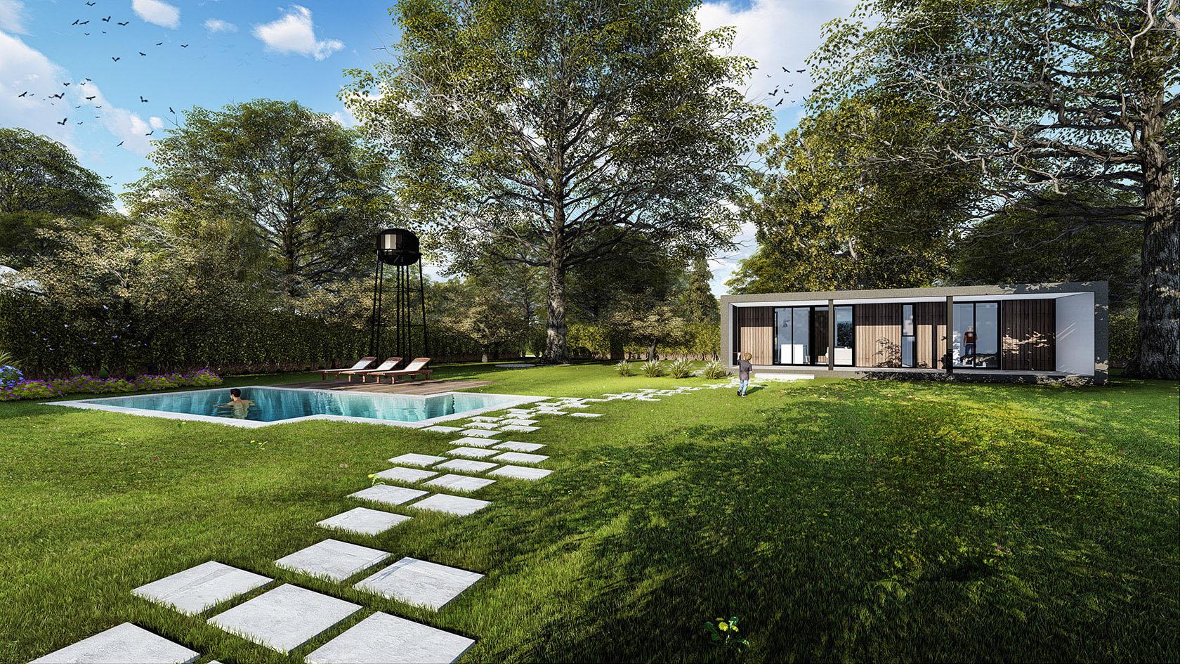 Diseño de caminos modernos, diseño de piletas modernas, diseño de casas en grandes terrenos