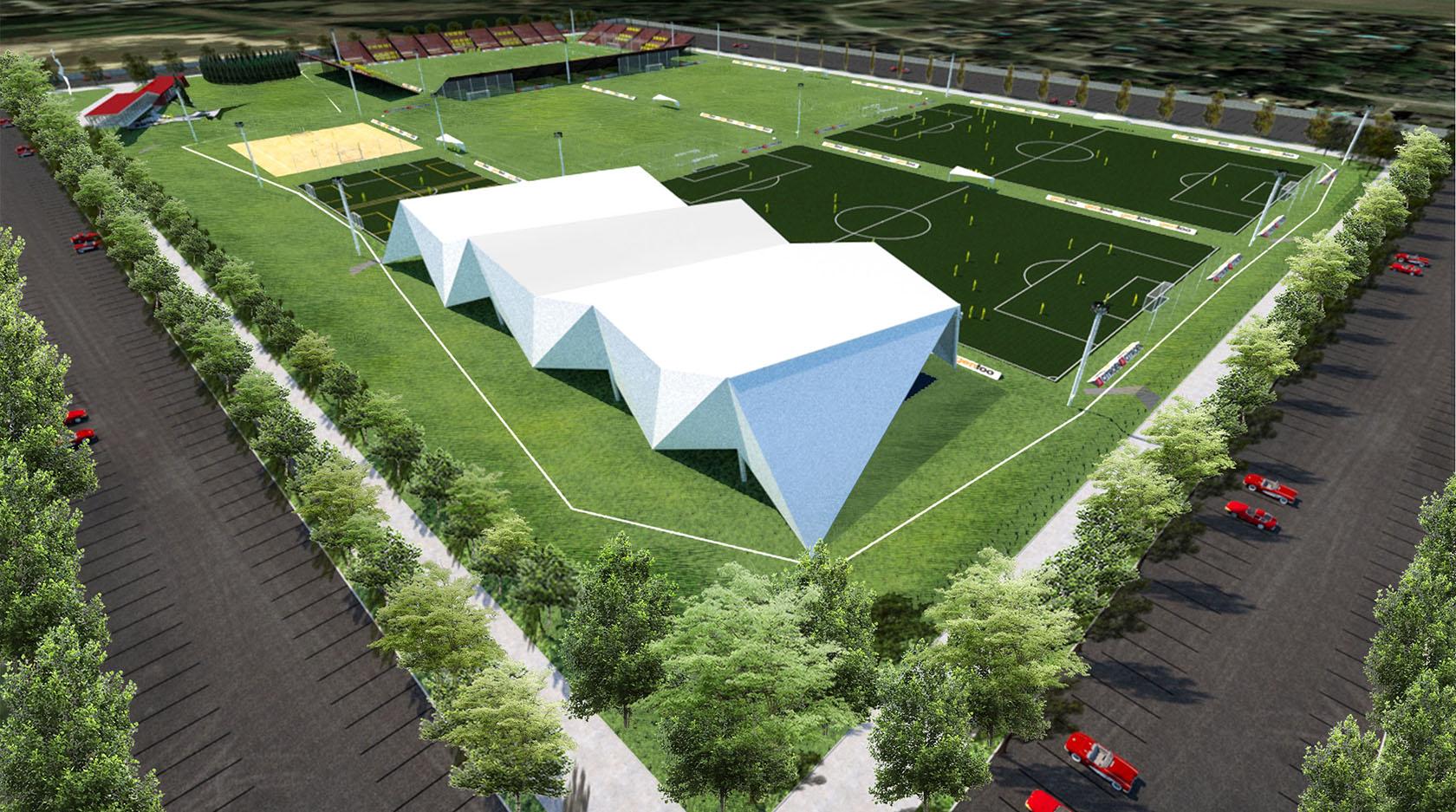 diseño contemporáneo de canchas cubiertas, arquitectura de complejos deportivos, diseño moderno de grandes cubiertas