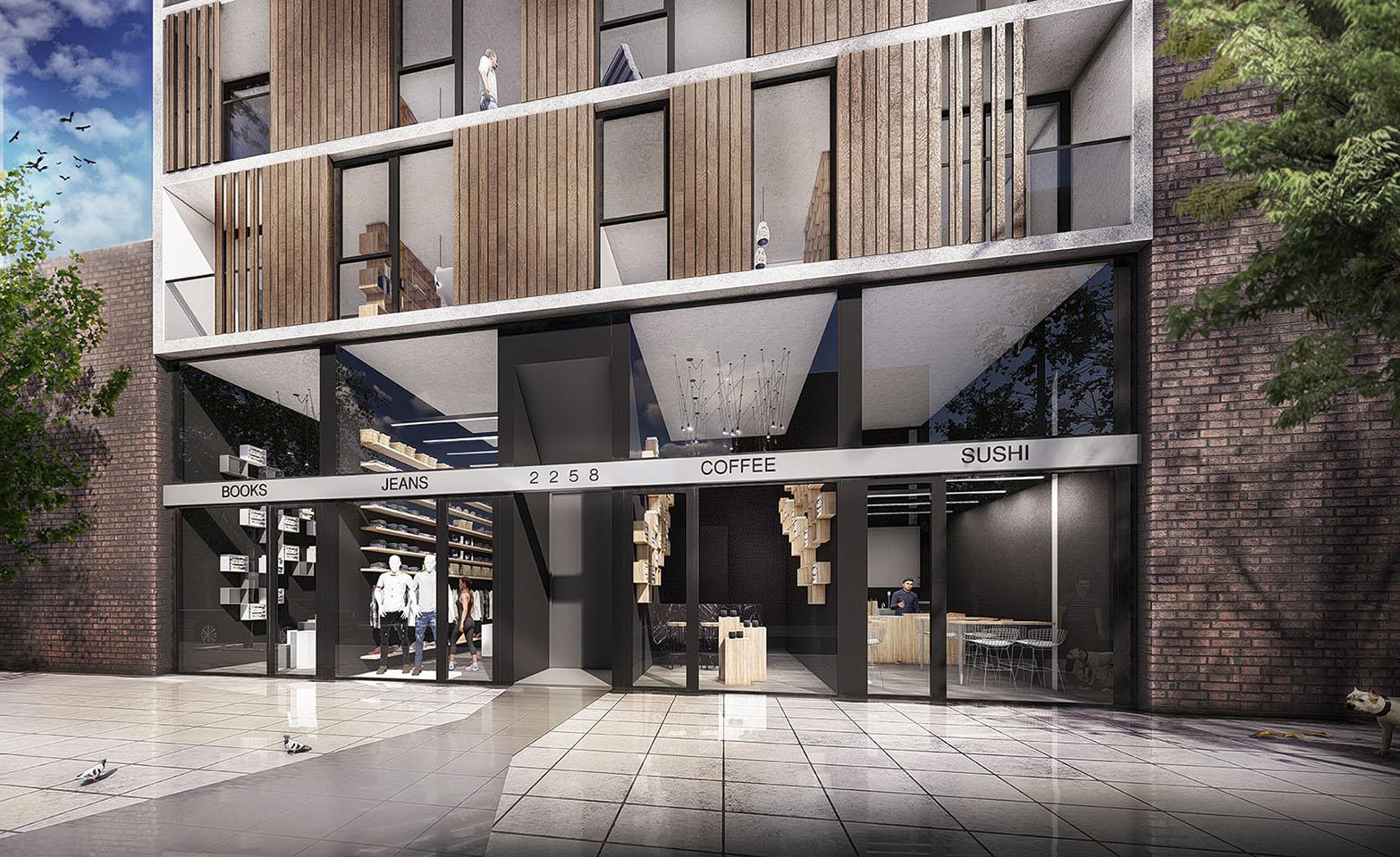 Fachadas con materiales contrastantes, fachadas con vidrio madera y acero en edificios