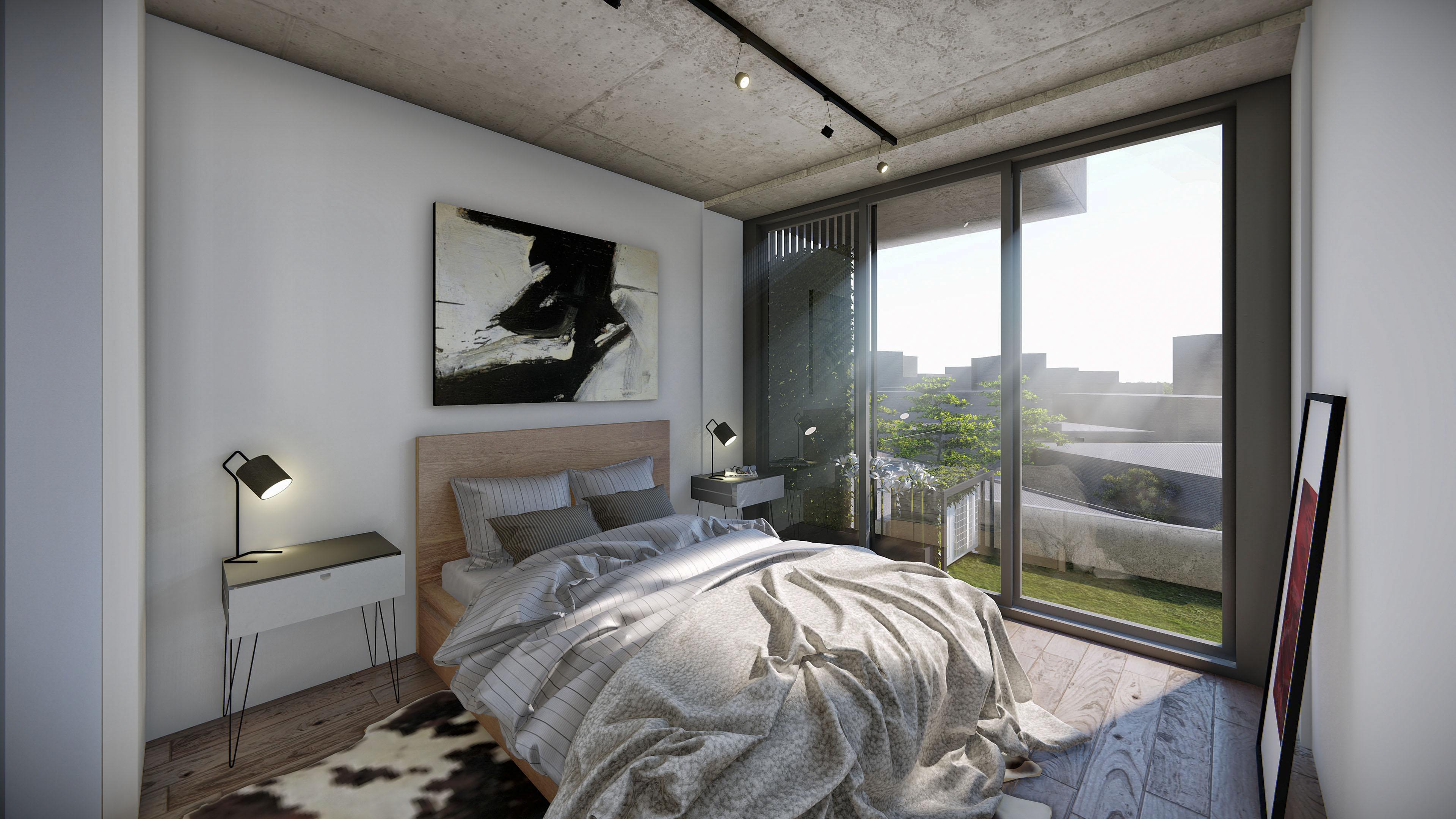 17 vista interior dormitorio departamento dos ambientes