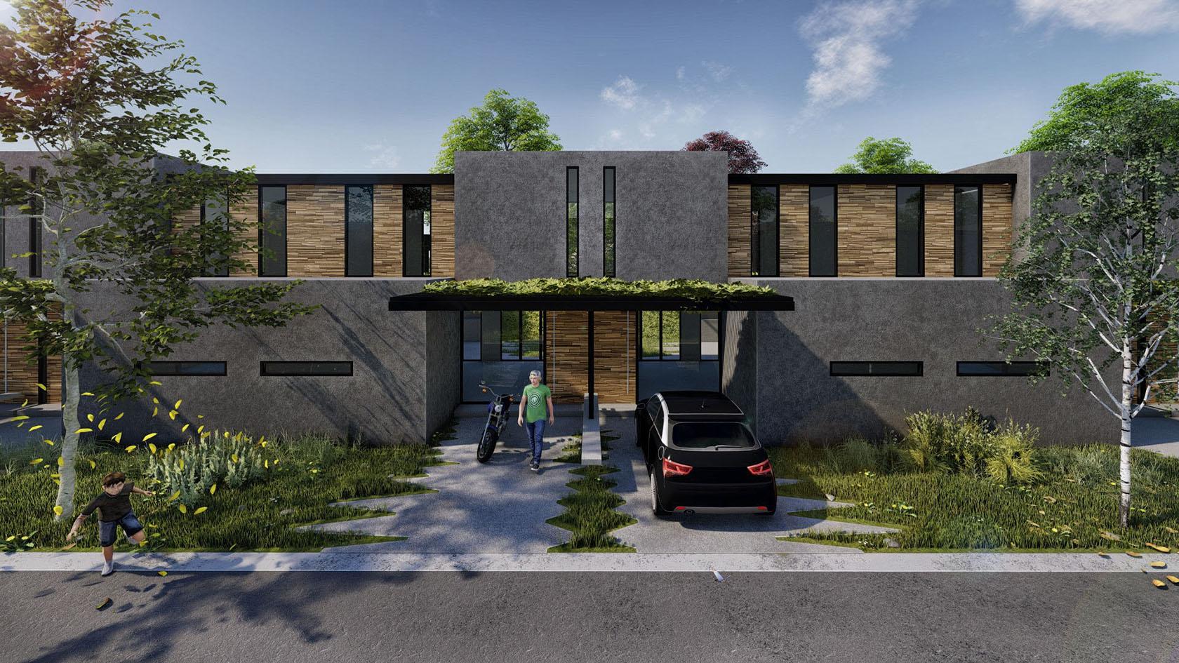 vista fachada casas