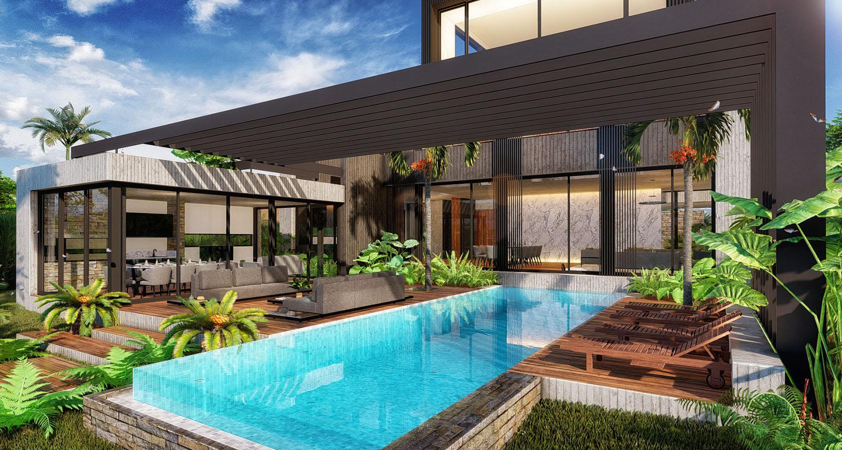vista piscina y living