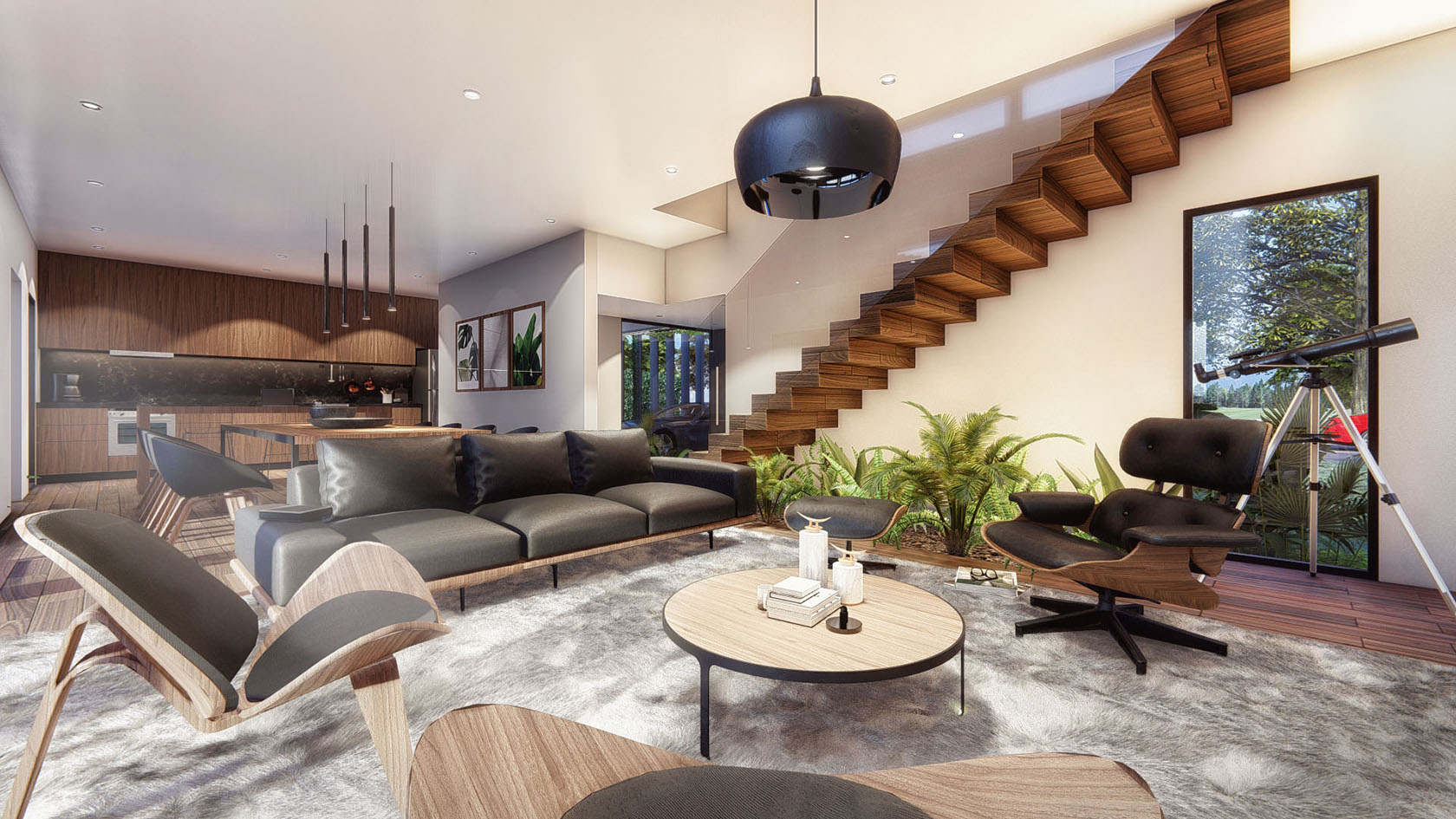 vista interior living escalera