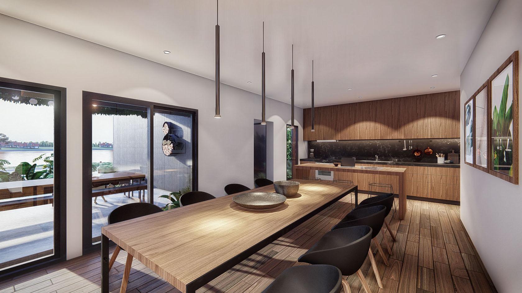 vista interior cocina comedor