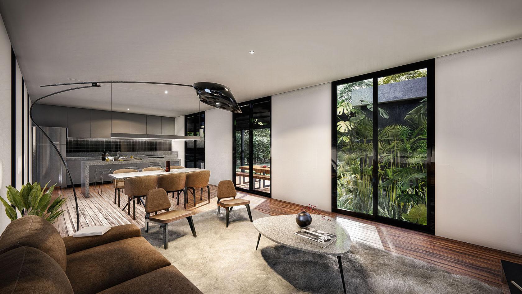 Vista interior living comedor